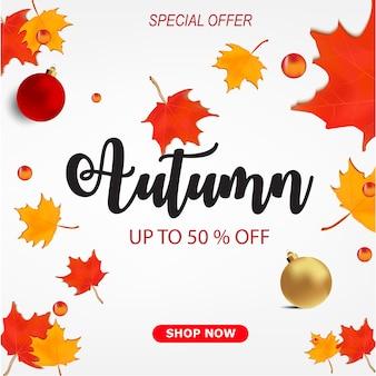 Banner de desconto de venda outono