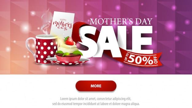 Banner de desconto roxo de venda de dia das mães com botão