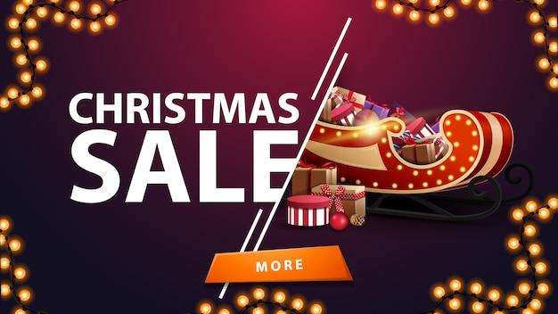 Banner de desconto roxo de venda de natal com festão