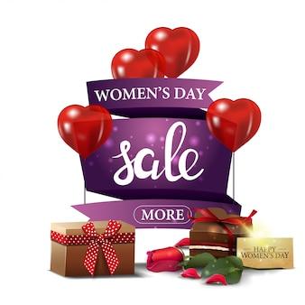 Banner de desconto roxo moderno para o dia da mulher