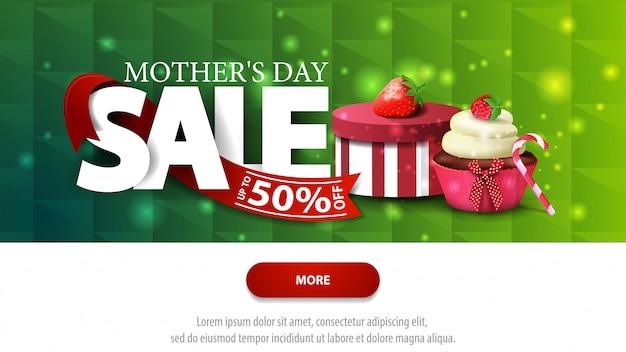 Banner de desconto verde de venda de dia das mães com botão