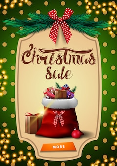 Banner de desconto vertical de venda, verde de natal com saco de papai noel com presentes