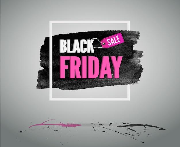 Banner de descontos de vetor de moda rosa com moldura branca. cartão de saudação de venda de sexta-feira negra.