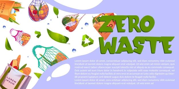 Banner de desenho animado com zero resíduos e sacolas ecológicas reutilizáveis