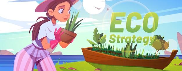 Banner de desenho animado de estratégia ecológica
