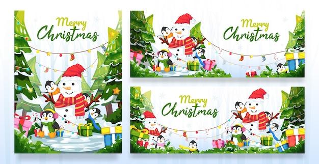 Banner de desenho animado de feliz natal com vários modelos de tamanho