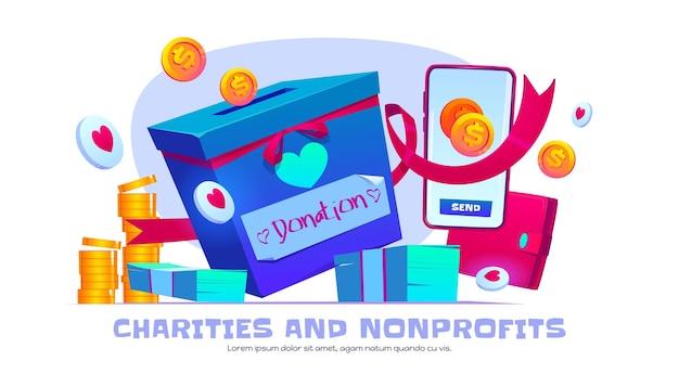 Banner de desenho animado de instituições de caridade e sem fins lucrativos
