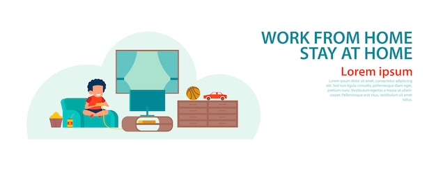 Banner de desenho animado ficar em casa com design plano