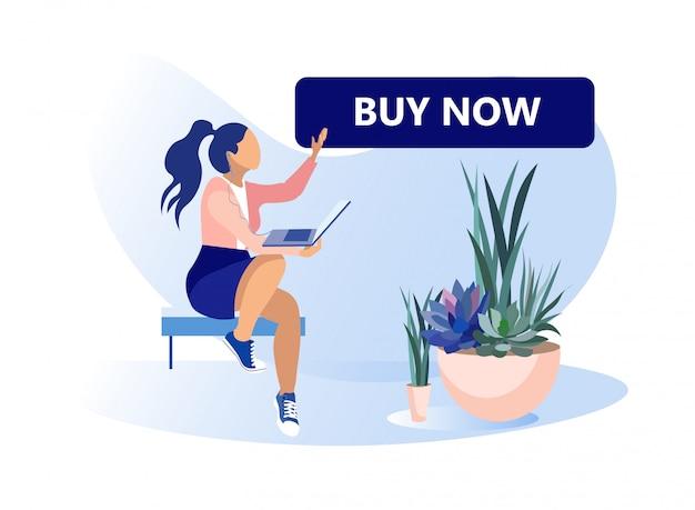Banner de desenho animado motivando a comprar agora via internet
