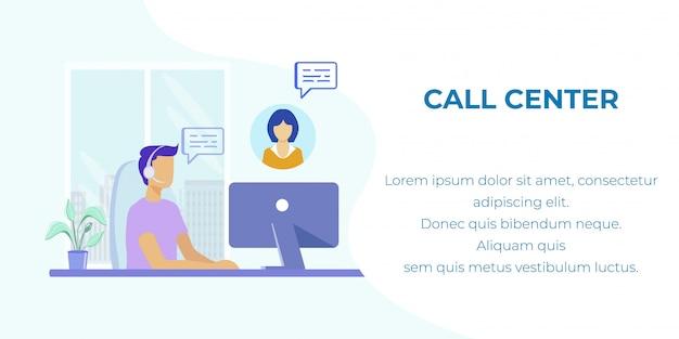 Banner de desenho animado promovendo call center e hotline