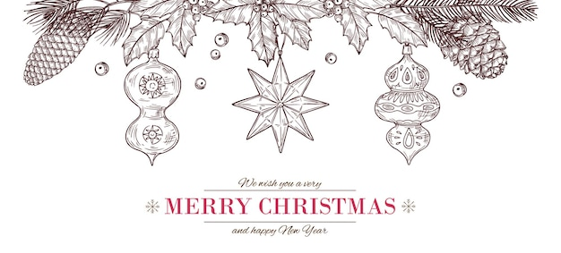 Banner de desenho de natal. desenho cartão alegre, pôster de poinsétia de inverno com pinhas e brinquedos de vidro. moldura de borda de feriado gravada vintage de ano novo com ilustração vetorial de galhos de árvores de abeto