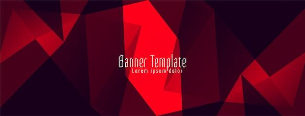 Banner de desenho de polígono geométrico abstrato vermelho