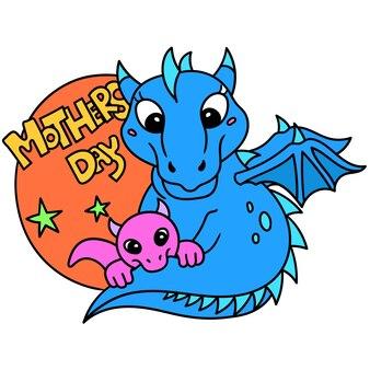 Banner de desenho do dia das mães com o logotipo do dragão mãe e filho, doodle desenhar kawaii. arte de ilustração