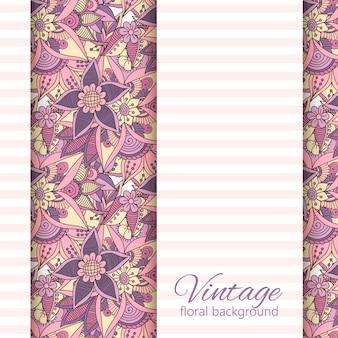 Banner de desenho vetorial com flores cor de rosa e violetas