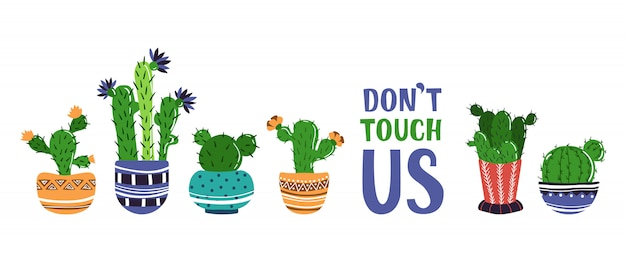 Banner de desenhos animados com plantas em vasos em casa, cactos