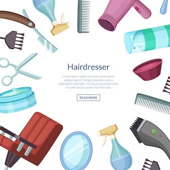 Banner de desenhos animados de cabeleireiro barbeiro com lugar para texto