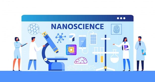 Banner de desenhos animados de metáfora de publicidade de nanociência