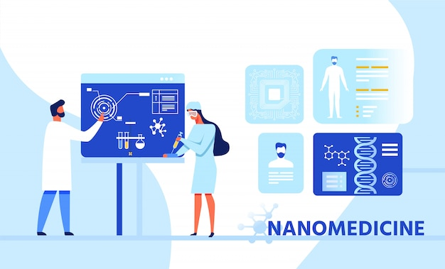 Banner de desenhos animados de pesquisa de infográfico de nanomedicina