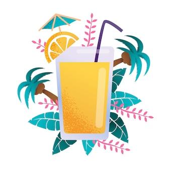 Banner de desenhos animados de publicidade de suco de fruta tropical cheia de vidro