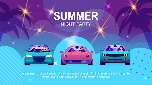 Banner de desenhos animados de texto promovendo festa auto de verão