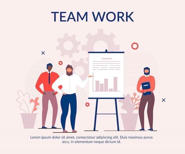 Banner de desenhos animados de texto publicidade eficaz trabalho em equipe