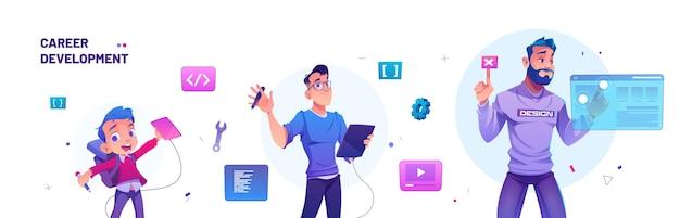 Banner de desenvolvimento de carreira com garoto para designer e líder