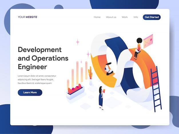 Banner de desenvolvimento e engenheiro de operações da página de destino