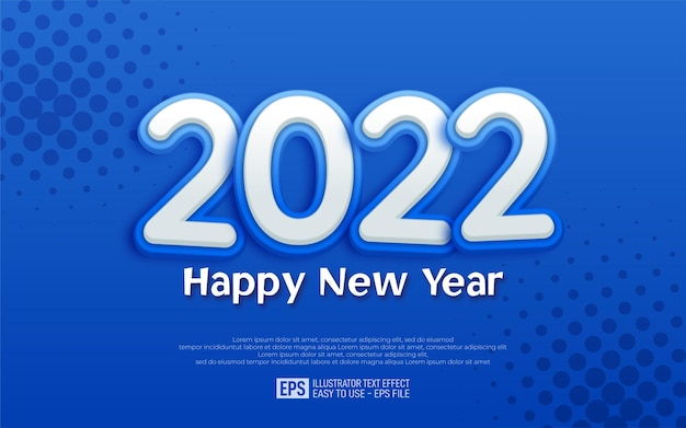 Banner de design azul de feliz ano novo de 2022