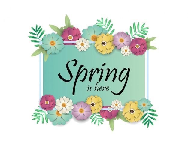 Banner de design com primavera é aqui logo