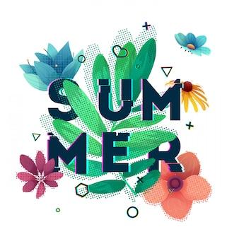 Banner de design com texto de verão. texto de falha com decoração de flores e plantas. cartaz de temporadas de modelo com folha verde e forma geométrica. .