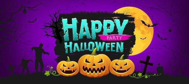 Banner de design de abóbora feliz festa de halloween na noite de fundo roxo ilustração vetorial eps 10