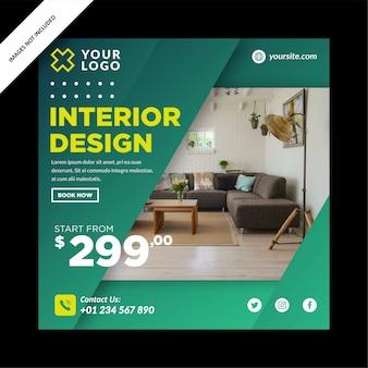 Banner de design de interiores criativo para mídia social post