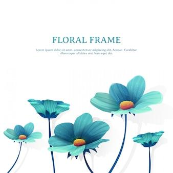 Banner de design de modelo com decoração de flores. lugar para o seu texto. quadro de flor azul de verão.