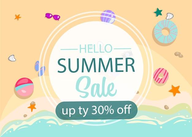 Banner de design de oferta de venda de verão olá, ilustração de verão, mar tropical, praia