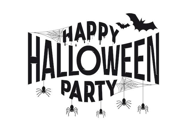 Banner de design de texto de festa de halloween feliz.