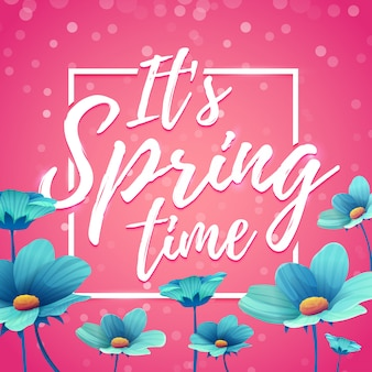 Banner de design é tempo de primavera. flyer para a temporada de primavera com moldura quadrada. cartaz com decoração de flores azuis em fundo rosa.