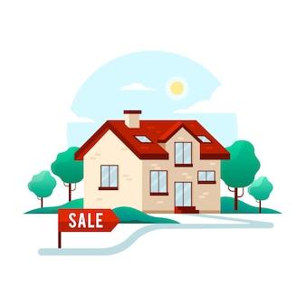 Banner de design plano de casa para alugar