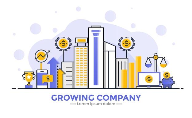 Banner de design plano de gradiente suave de linha fina da growing company