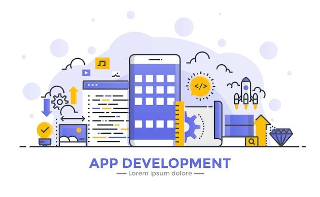 Banner de design plano de gradiente suave de linha fina de desenvolvimento de aplicativos