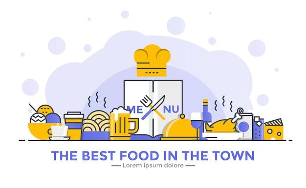 Banner de design plano de gradiente suave de linha fina de restaurante