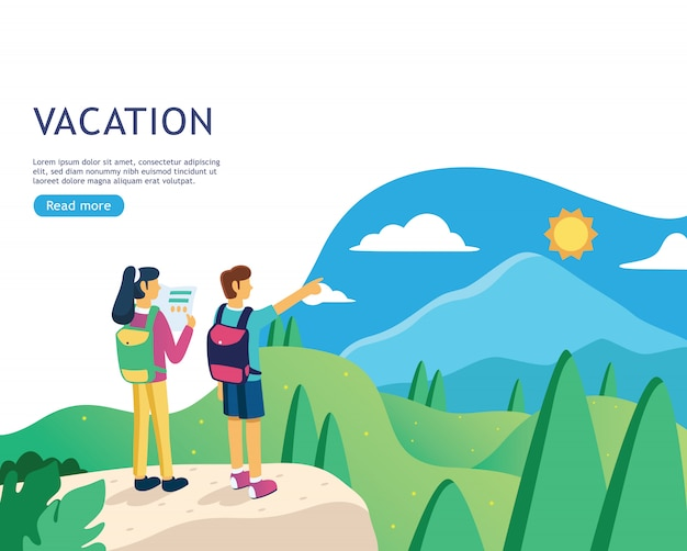 Banner de design plano para página da web de férias