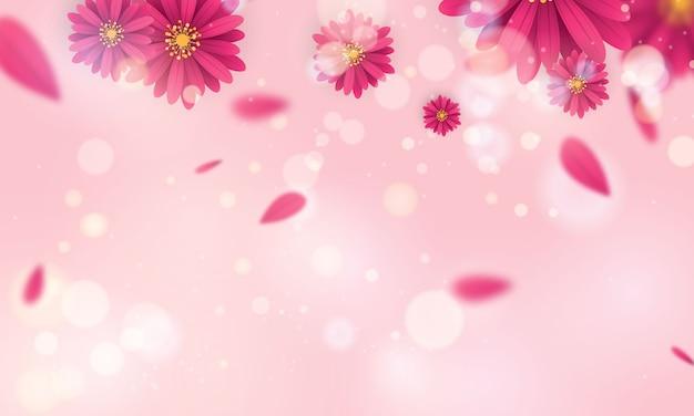 Banner de design primavera linda flor rosa e branca.