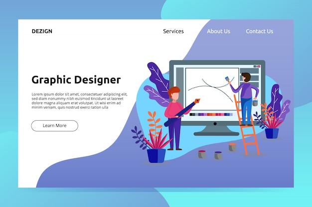 Banner de designer gráfico e ilustração de página de aterrissagem