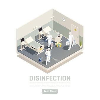 Banner de desinfecção isométrica