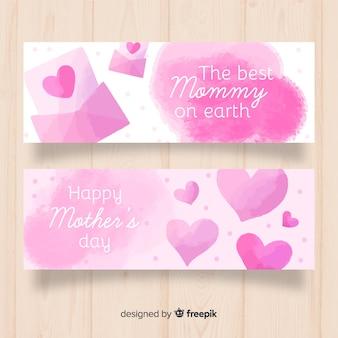 Banner de dia das mães aquarela corações