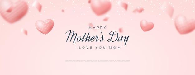 Banner de dia das mães feliz com ilustração de balões de amor.