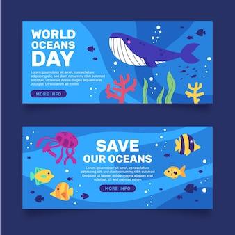 Banner de dia de oceanos de peixe e baleia