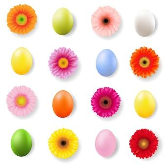 Banner de dia de páscoa com ovos e gerberes