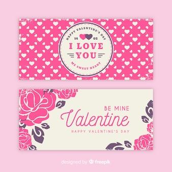Banner de dia dos namorados de rosas