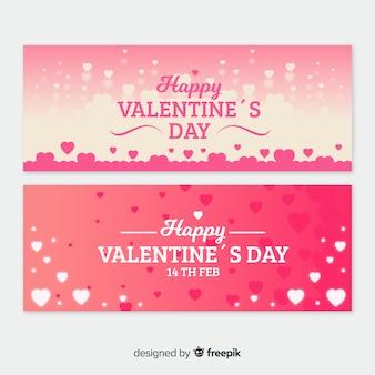 Banner de dia dos namorados de silhueta de coração